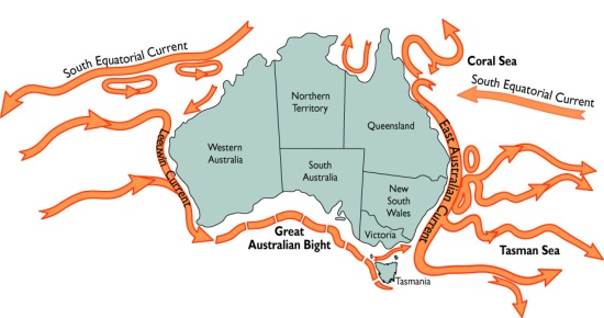 Major Ocean Currents in Australia. Image: CSIRO